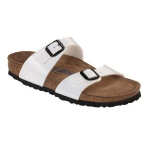 BIRKENSTOCK SYDNEY ORIGINAL WOMAN SLIPPER  WHITE PATENT DOUBLE BAND SOFT FOOTBED