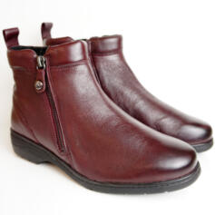 CAPRICE SUPER SOFT BURGUNDY NAPPA BOOTS WITH SIDE ZIPPER