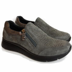 ENVAL SOFT WOMAN'S ELEGANT GREY SUEDE LEATHER SHOE WITH SIDE ZIPPER