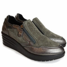 ENVAL SOFT GREY LEATHER SHOE WITH SIDE ZIPPER AND WEDGE