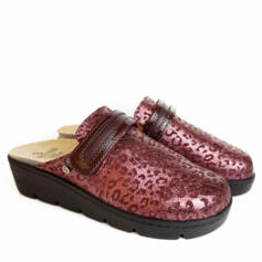 SABATINI SIMONA BURGUNDY LEATHER SLIPPERS WITH REINFORCED SOLE