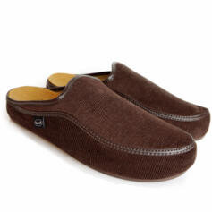 DR.SCHOLL BROWN BRANDY MAN SLIPPERS WITH REMOVABLE FOOTBED