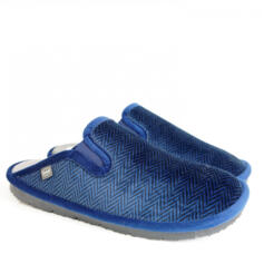 DR.SCHOLL BORIS BLUE SLIPPERS WITH ZIG ZAG STRIPED PRINT AND ELASTIC