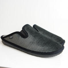 DR.SCHOLL BORIS DARK GREY SLIPPERS WITH ZIG ZAG STRIPED PRINT AND ELASTIC