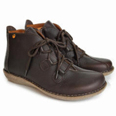 JUNGLA BROWN BOOTS WITH EMBOSSED LEATHER AND CROSSED LACE