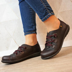 JUNGLA SHOES WITH CROSSED ELASTIC LACE EMBOSSED LEATHER BROWN