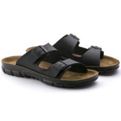 BIRKENSTOCK BILBAO MEN FLIP FLOPS  DOUBLE BUCKLE BLACK