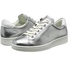 ECCO WOMEN'S COMFORTABLE SNEAKER REAL LEATHER SOFT 4 TRUE NAVY/WHITE DROID (SILVER)