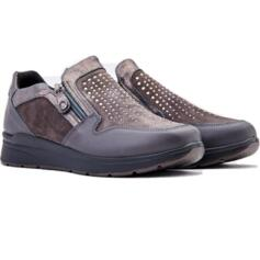ENVAL SOFT WOMEN'S  COMFORTABLE SHOES GREY SUEDE LEATHER WITH STRASS