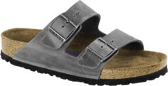 BIRKENSTOCK ARIZONA SOFT FOOTBED FLIP FLOPS UNISEX IRON OILED LEATHER