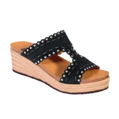 SCHOLL SHANNON SUE-W WOMEN'S SANDALS WEDGE HEEL WITH STRASS BLACK