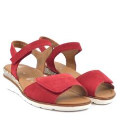 ARA WOMEN'S SANDALS WEDGE HEEL STRAP CLOSURE RED MULTICOLOUR