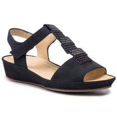 ARA WOMEN'S COMFY SANDALS WEDGE HEEL AND STRESS REAL LEATHER DARK BLUE