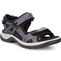 ECCO OFFROAD WOMEN'S SANDALS THREE STRAPS LEATHER METALLIC SILVER/PURPLE
