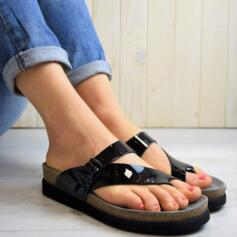 MEPHISTO HELEN WOMEN'S CROSSED FLIP FLOPS REAL LEATHER PATENT BLACK