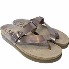 MEPHISTO HELEN WOMEN'S CROSSED FLIP FLOPS REAL LEATHER PATENT BRONZE