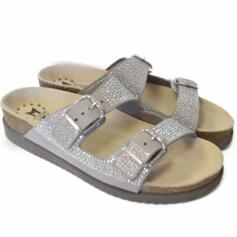 MEPHISTO HARMONY DIAMS WOMEN'S FLIP FLOPS DOUBLE BUCKLE STRASS GREY