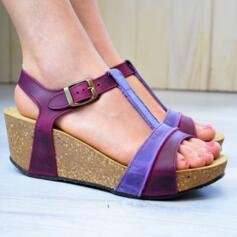 BIOLINE WOMEN'S SANDALS WEDGE HEEL REAL LEATHER GARNET
