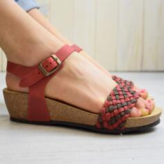 BIOLINE WOMEN'S SANDALS WEDGE HEEL CROSSED UPPER LEATHER ROSSO