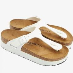 PAPILLIO GIZEH PLATFORM WOMEN'S FLIP FLOPS LEATHER WHITE