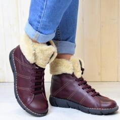 JUNGLA WOMEN'S ANKLE BOOTS SOFT LEATHER BORDEAUX LACES AND FUR