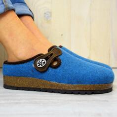 BIOLINE WOMEN'S HOUSE SLIPPERS IN WOOL AND CORK SOLE LIGHT BLUE