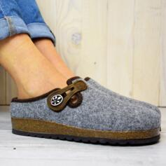 BIOLINE WOMEN'S HOUSE SLIPPERS IN WOOL AND CORK SOLE GREY