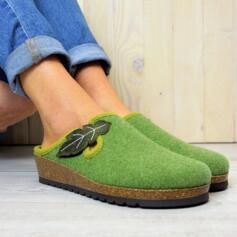 BIOLINE WOMEN'S HOUSE SLIPPERS IN WOOL AND CORK SOLE GREEN