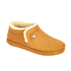 DR. SCHOLL CHEIA WOMEN'S SLIPPERS WITH FUR MEMORY FOOTBED CAMEL
