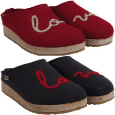 HAFLINGER LOVELY LOVE WOMEN'S HOUSE SLIPPERS WOOL CLOGS BLUE RED