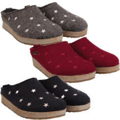 HAFLINGER STARS WOMEN'S HOUSE SLIPPERS WOOL CLOGS GRIZZLY