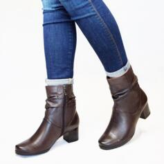 CAPRICE ANKLE BOOTS WITH HEEL AND ZIP CLOSURE LEATHER BROWN
