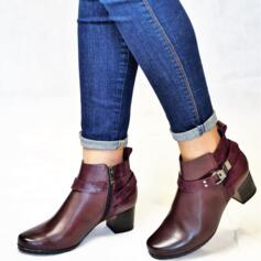 CAPRICE WOMEN'S ANKLE BOOTS WITH HEEL AND ZIP CLOSURE LEATHER BORDEAUX