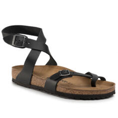 BIRKENSTOCK YARA GLADIATOR STYLE  FLIP FLOPS SANDALS REAL LEATHER BLACK