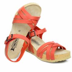 MEPHISTO LANNY SANDALS  CORK WEDGE  OILED LEATHER VINTAGE RED