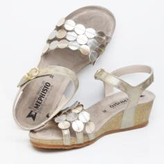 MEPHISTO MATILDE SANDALS LIGHT CORK WEDGE SUPER SOFT INSOLE PLATINIUM TAUPE