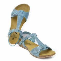 SABATINI INGRIND WOMEN'S SANDAL FLAT  PREMIUM LEATHER LIGHT BLUE