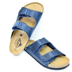 PLAKTON DOUBLE  STRAP SLIPPERS PREMIUM LEATHER BLUE