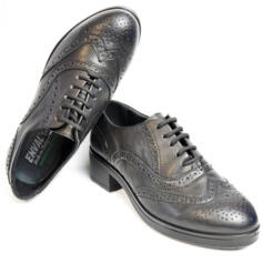 ENVAL SOFT WOMEN'S BROGUES WITH LACES ULTRA SOFT BLACK LEATHER