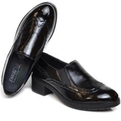 ENVAL SOFT WOMEN'S MOCASSIN REMOVABLE FOOTBED LEATHER PATENT BLACK