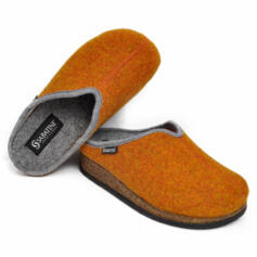 SABATINI SLIPPERS REMOVABLE INSOLE EXTRA LARGE SOLE WOOL ORANGE