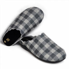 SABATINI WOMEN'S HOUSE SLIPPERS EXTRAFLEX INSOLE TARTAN BLACK/WHITE