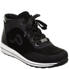 ARA WOMEN'S SNEAKER WITH LACES SOFT LEATHER BLACK/GLITTER