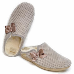 DIAMANTE WOMEN'S SLIPPER THERMAL FABRIC WITH BOW BEIGE