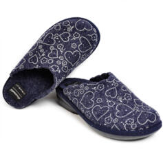 DIAMANTE WOMEN'S SLIPPERS THERMAL FABRIC BLUE