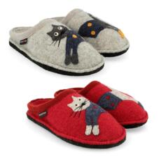 HAFLINGER CUCHO WOMEN'S SLIPPERS WOOL CAT KITTY KITTEN