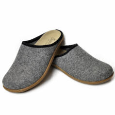 TIROL BONN MEN'S HOUSE SLIPPERS REMOVABLE LEATHER INSOLE MERINOS WOOL GREY