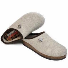 TIROL INNSBRUCK WOMEN'S SLIPPERS MERINOS WOOL ANATOMICAL FOOTBED CREAM