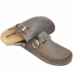 BIOLINE SABOT OILED LEATHER BROWN EXTRALARGE FOOTBED