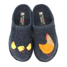 HAFLINGER HEN BLUE WOMEN'S MENS SLIPPERS WOOL HENNE KAPITAN